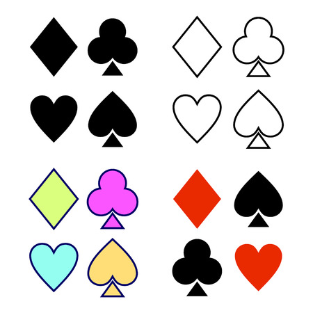 playing card symbols: Vector set of playing card symbols. Hand drawn decorative bcolorful icons isolated on the backgrounds. Graphic vector illustration. Illustration