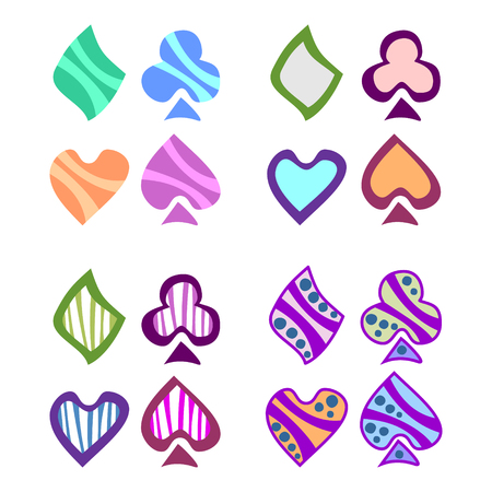 playing card symbols: Vector set of playing card symbols. Hand drawn decorative colorful icons isolated on the backgrounds. Graphic vector illustration. Illustration