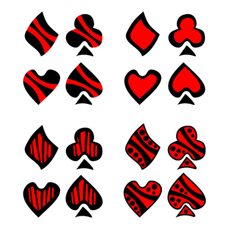 playing card symbols: Vector set of playing card symbols. Hand drawn decorative black and red icons isolated on the backgrounds. Graphic vector illustration.