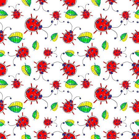 Seamless vector pattern with insect. Cute hand drawn endless background with childish ladybugs and leaves. Series of Doodle, Cartoon and Sketch vector seamless patterns.