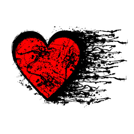 Vector black and red graphic illustration of sign of heart with ink blot, brush strokes, isolated on the white background. Series of artistic illustration with splash, blots and brush strokes.