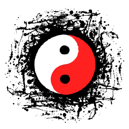black white red: Vector black, white, red graphic illustration of sign of Yin Yang with ink blot, brush strokes, isolated on the white background. Series of artistic illustration with splash, blots and brush strokes.