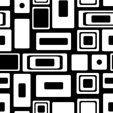 Seamless vector geometrical pattern. Endless black and white background with squares and rectangles. Graphic illustration. Template for cover, fabric, wrapping.