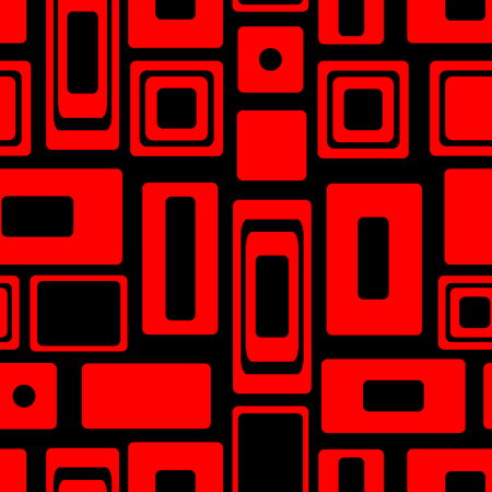 Seamless vector geometrical pattern. Endless black and red background with squares and rectangles. Graphic illustration. Template for cover, fabric, wrapping.