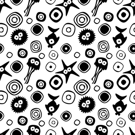 childish: Vector seamless decorative pattern with hand drawn fish, starfish, octopus. Endless black and white background. Template for wrapping, fabric, cover. Series of hand drawn decorative seamless patterns.