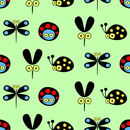 lady cow: Seamless vector pattern with insect. Cute hand drawn endless background with childish ladybugs, mosquito and dragonfly. Series of childish seamless patterns, wrapping, cover, fabric. Illustration