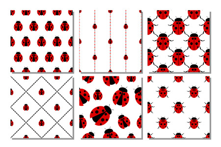 set series: Set of seamless vector patterns with insects, different backgrounds with bright ladybug.Graphic illustration. Series of sets of vector seamless patterns.