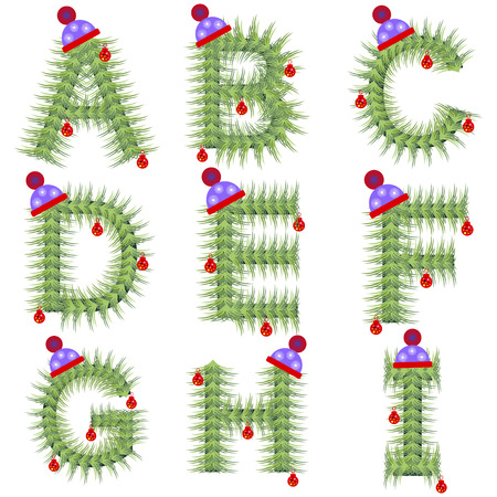 set series: Vector set of holiday font. Winter alphabet letter. Green stylized fir-tree figure with Christmas decorations, cap. Series of Letters, Numbers and Symbols. New Year collection.