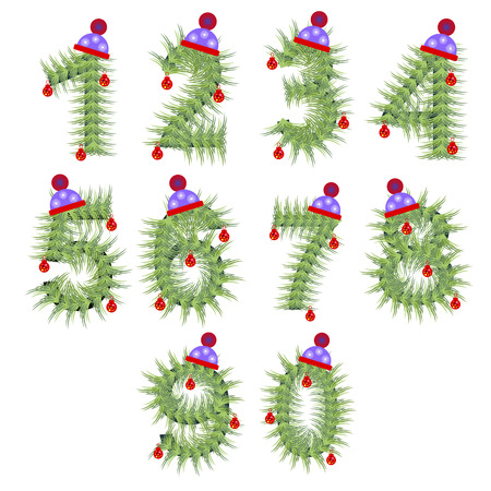 firtree: Vector set of holiday font. Winter alphabet numeral. Green stylized fir-tree figure with Christmas decorations, cap. Series of Letters, Numbers and Symbols. New Year collection.