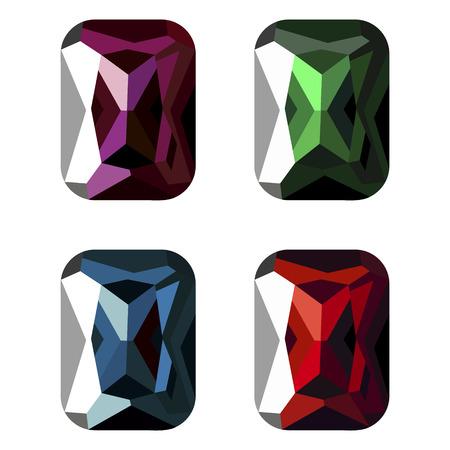 Set of vector illustration of gems, isolated over white background. Graphic illustration. Stock Illustratie