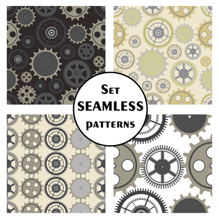 with sets of elements: Set of seamless vector patterns, different background with elements of the mechanism of the watch. Graphic illustration. Series of sets of vector seamless patterns.