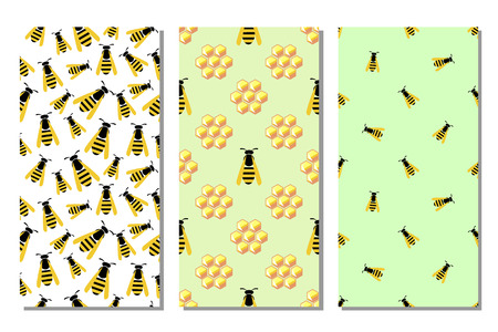 wasps: Set of seamless vector pattern with insects, different bright backgrounds with honeycombs and wasps. Graphic illustration. Series of sets of vector seamless patterns.