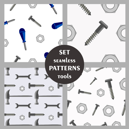set series: Set of seamless vector patterns with tools. Different backgrounds with screws, hammer, screwdriver and nuts. Graphic illustration. Series of sets of vector seamless patterns.
