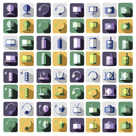 web camera: Set of vector technology flat icons of PC, monitor, headphones, router, battery, USB flash drive, web camera.