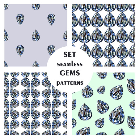 set series: Set of seamless vector patterns, different abstract background with bright gemstones in the shape of drops. Graphic illustration. Series of sets of vector seamless patterns.