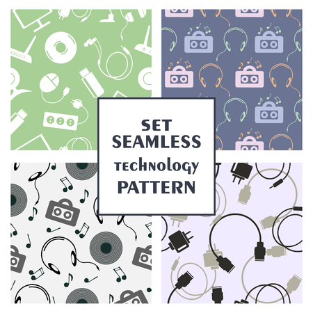 Set of seamless technology vector patterns, with colorful icons of PC, monitor, headphones, disc, router, battery, USB flash drive, web camera, microphone. Series of sets of vector seamless patterns. Illustration
