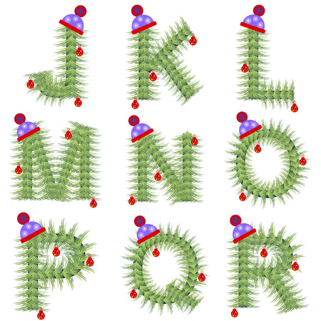 nil: Vector set of holiday font. Winter alphabet letter. Green stylized fir-tree figure with Christmas decorations, cap. Series of Letters, Numbers and Symbols. New Year collection.