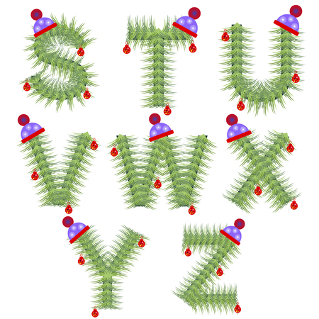 firtree: Vector set of holiday font. Winter alphabet letter. Green stylized fir-tree figure with Christmas decorations, cap. Series of Letters, Numbers and Symbols. New Year collection.