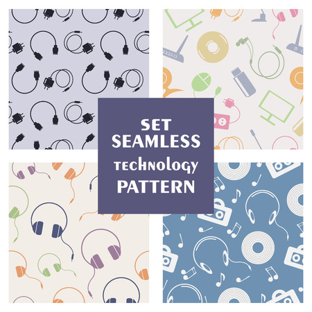 earpieces: Set of seamless technology vector patterns, with colorful icons of PC, monitor, headphones, disc, router, battery, USB flash drive, web camera, microphone. Series of sets of vector seamless patterns. Illustration
