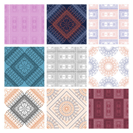 with sets of elements: Set of seamless vector geometric patterns with ornamental elements,endless background with traditional folk motifs. Graphic vector illustration. Series- sets of vector seamless patterns.