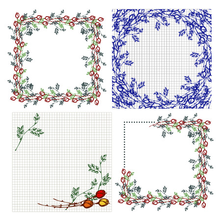 Set of vector floral frame, card, border. Greeting cards. Different template with colorful hand drawn roses and leaves. Graphic illustration. Vector design. Series of Cards, Blanks and Forms.