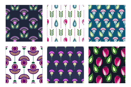 wallpapaer: Set of seamless floral pattern Illustration