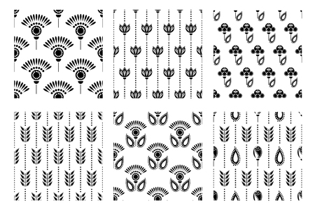 wallpapaer: Set of seamless floral vector pattern. Symmetrcal black and white ornamental background with flowers and leaves. Decorative repeating ornament, Series of Floral and Decorative Seamless Pattern.