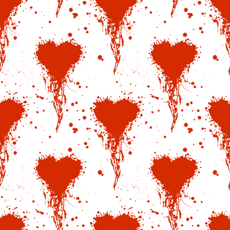 inc: Vector seamless pattern with hand drawn heart. Artistic creative black and red graphic illustration with inc splash, blots and smudge.