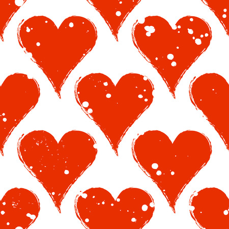 Vector seamless grunge pattern. Black and red graphic illustration of sign of hearts with ink blot, brush strokes. Endless background. Series of gaming and gambling seamless vector patterns.
