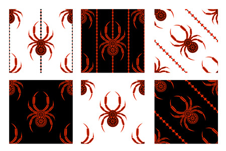 symmetrical: Set of seamless patterns symmetrical geometric backgrounds