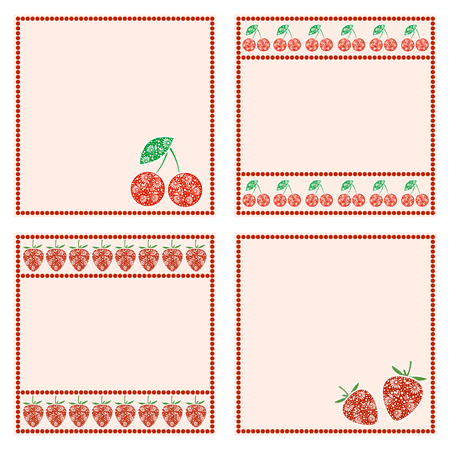 blanks: Vector set of cards with berries. Empty square form with ornamental strawberry, cherry and border with dots. Decorative frames. Series of vector Cards, Blanks and Forms. Illustration