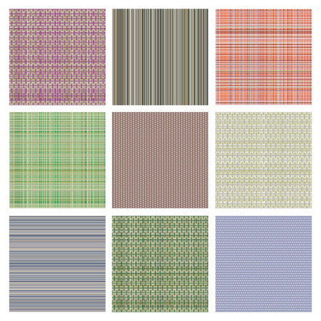 fabric swatch: Set of vector seamless texture. Pastel different checkered, lined backgrounds in pastel colors, fabric swatch samples texture of cloth. Series of Seamless vector Textures.