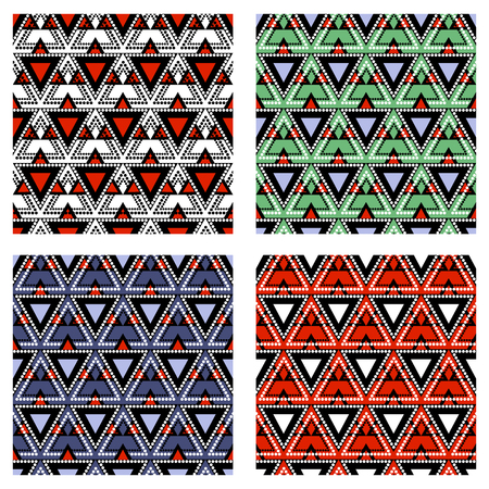 with sets of elements: Set of seamless vector geometric colorful patterns with ornamental elements,endless background with ethnic motifs. Graphic vector illustration. Series- sets of vector seamless patterns.