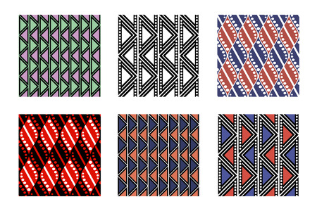 Set of seamless vector geometric colorful patterns with ornamental elements,endless background with ethnic motifs. Graphic vector illustration. Series- sets of vector seamless patterns.
