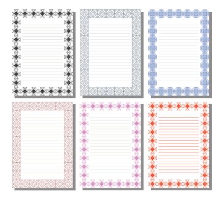 Ensemble de modèle de vecteur pour la lettre, carte ou d'une charte avec un espace vide pour le texte. Blanc sur papier avec bordure ornementale décorative. A4 de format. Série de cartes, Blanks, formulaires et modèles