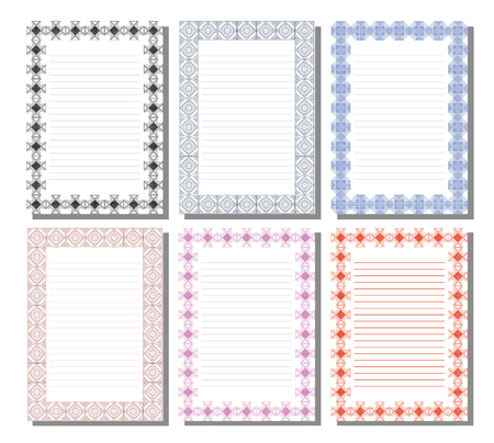 charter: Set of vector template for letter, card or charter with empty space for text. White paper form with  decorative ornamental border. A4 format size. Series of Cards, Blanks, Forms and Template