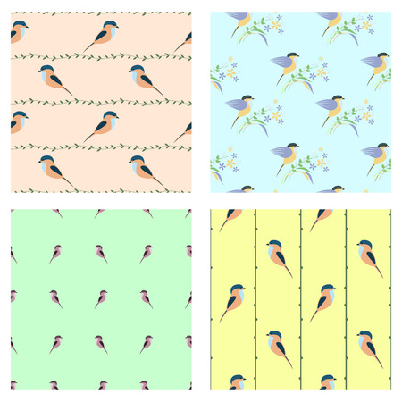 chickadee: Set of seamless vector patterns with animals. Different colorful backgrounds with birds, branches with leaves. Graphic vector illustration. Series of Animals and Insects Seamless vector Patterns.