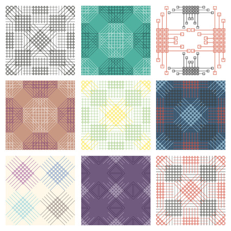 with sets of elements: Set of seamless vector geometric colorful patterns with ornamental elements,endless background with classic motifs. Graphic vector illustration. Series- sets of vector seamless patterns.