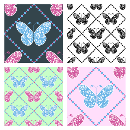 set series: Set of seamless vector patterns with insects, symmetrical blue, pink, black and white backgrounds with butterflies. Decorative ornament. Series of Animals and Insects Seamless vector Patterns.