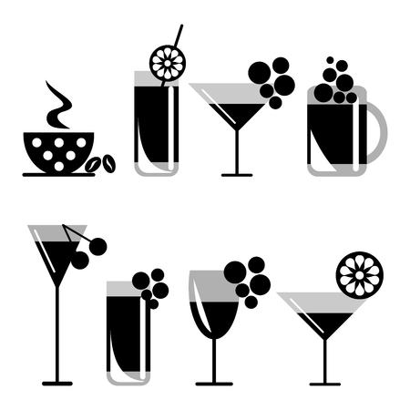 bahama: Vector set of cblack and white illustration of cocktails with fruits, coffee with grains, beer and wine glass, isolated on the white background. Series of Food and Drink, Icons and Illustrations.