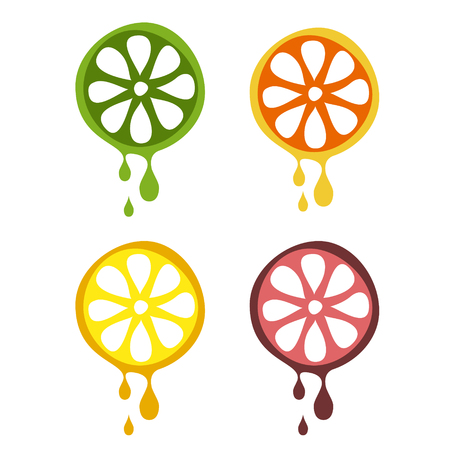 grapefruit juice: Set of vector illustrations of fruit. Half of lime, orange, lemon and grapefruit in droplets of juice, isolated on the white background. Series of Fruits and Vegetables vector Illustrations. Illustration
