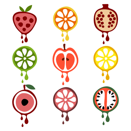 grapefruit juice: Set of vector illustrations of fruits. Half of strawberry, lime, pomegranate, apple, orange, cherry, watermelon, lemon and grapefruit in droplets of juice. Series of Fruits vector Illustrations.