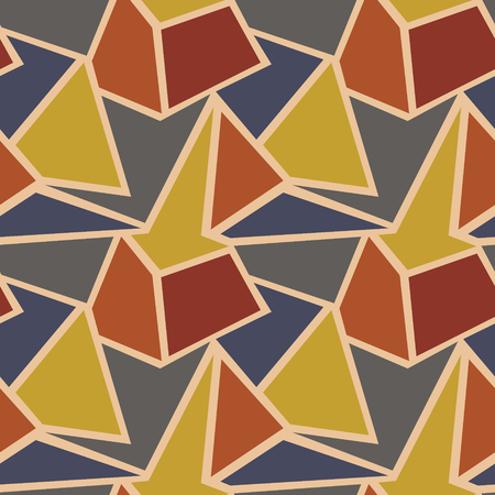 Seamless vector geometric pattern. Background with triangles in pastel beige and brown colors. Graphic illustration.