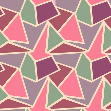 vitrage: Seamless vector geometric pattern. Background with triangles in pastel pink and blue colors. Graphic illustration.