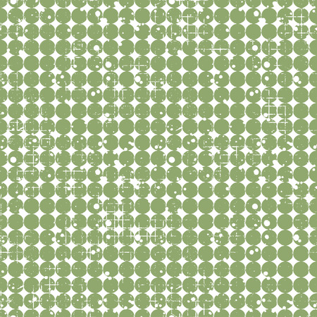 attrition: Seamless vector dotted pattern. Creative geometric green background with circles. Grunge texture with attrition, cracks and ambrosia. Old style vintage design. Graphic illustration.