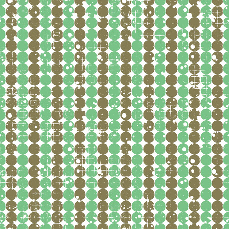 attrition: Seamless vector dotted pattern. Creative geometric green and brown background with circles. Grunge texture with attrition, cracks and ambrosia. Old style vintage design. Graphic illustration.