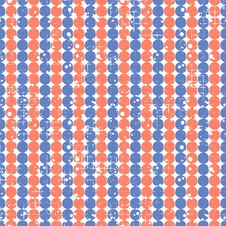 attrition: Seamless vector dotted pattern. Creative geometric blue and red background with circles. Grunge texture with attrition, cracks and ambrosia. Old style vintage design. Graphic illustration.