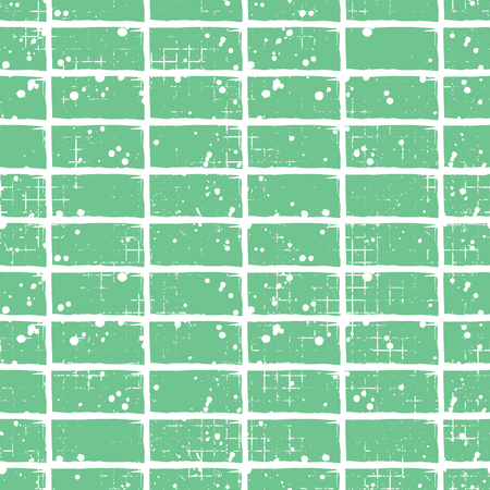 attrition: Seamless vector grunge pattern. Creative geometric green background with bricks. Grunge texture with attrition, cracks and ambrosia. Old style vintage design. Graphic vector illustration. Illustration