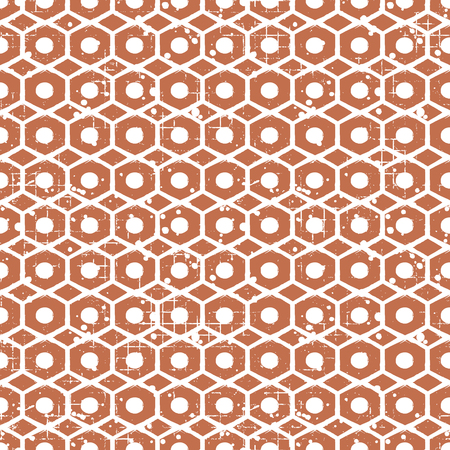 attrition: Seamless vector grunge pattern. Creative geometric brown background with screw nut. Grunge texture with attrition, cracks and ambrosia. Old style vintage design. Graphic vector illustration.