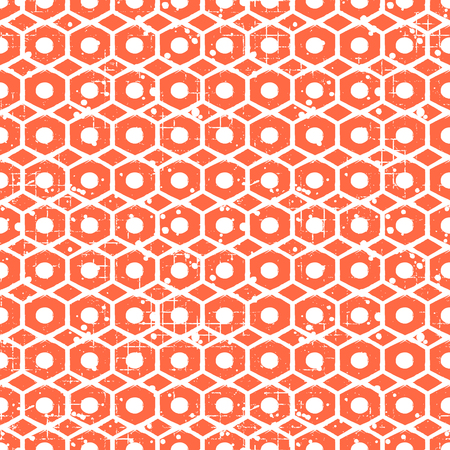 attrition: Seamless vector grunge pattern. Creative geometric red background with screw nut. Grunge texture with attrition, cracks and ambrosia. Old style vintage design. Graphic vector illustration. Illustration